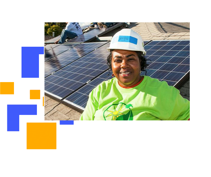 Nextlight ENERGY Commercial Solar Panel Installation at Minneapolis, Minnesota with an aunty standing and